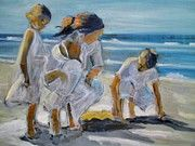 Children Playing Beach Paintings - Three is a company by Anna Kowalewicz