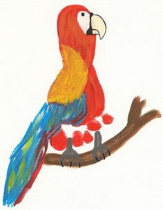 #kids crafts #Parrot #footprint