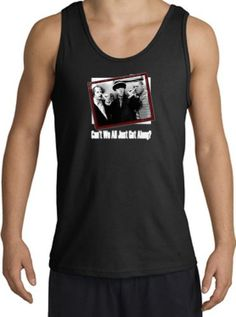 The Three 3 Stooges CANT WE ALL GET ALONG Funny Adult Tanktop - Black Medium