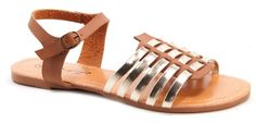 Mr Price Interlaced huarache Open toe. Open back. Interlaced front. Ankle and sling back strap with buckle closure. Metallic tone finish.