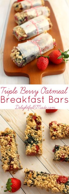 The combination of sweet, zesty Strawberries, Raspberries and Blueberries are baked to perfection with a rolled oats and brown sugar.  These breakfast bars make the perfect quick breakfast on the go!