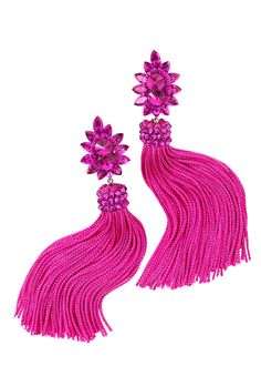 Zerlina Crystallized Fuchsia Fringe Earrings FC312 | Dancesport Fashion @ DanceShopper.com