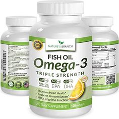 ★ BEST TRIPLE STRENGTH Omega 3 Fish Oil Pills ★ 2500mg HIGH POTENCY Lemon Flavor 860mg EPA 650mg DHA 100% Pure Burpless Liquid Softgels 120 Capsules Best Supplement For Brain Joints Eyes Heart Health * You can get more details by clicking on the image.