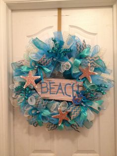 This Way To The Beach Wreath by UniqueCraftedItems on Etsy, $68.00