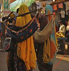 ladies carry their babies Pushkar India