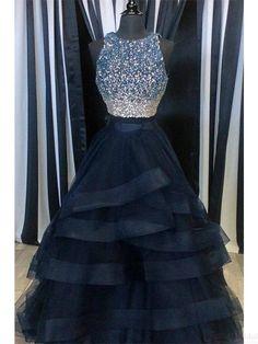 A Line Beading Bodice Layers Long Prom Dresses Evening Dresses #SIMIBridal #promdresses