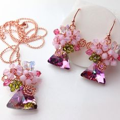 Light purple Pink jewellery set using Triangle by PastelGems