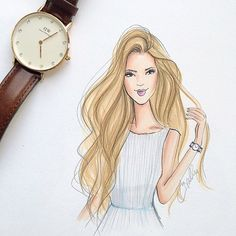 """This beach wave beauty wears her @danielwellingtonwatches while I sketch with mine ☺️ coupon code """"HollyNichols"""" expires the 15th!  #danielwellingtonwatches #fashionillustration #fashionillustrator #beachwaves #hairenvy #beachhair #preppy #searsucker #bostonblogger (at www.danielwellington.com)"""