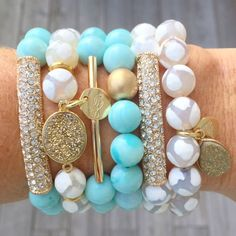 Love this mint & pearl bracelet stack