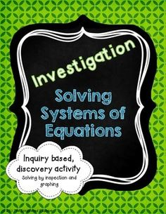 Solving Systems by Graphing Investigation Activity - FREEBIE