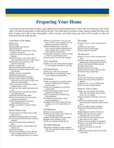 Preparing your Home to Sell Checklist