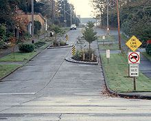 Street design,Traffic calming - Wikipedia, the free encyclopedia. Signage is on, lighting design. Like the concrete surface quality. Track Lighting Bedroom, Rustic Bathroom Lighting, Led Track Lighting, Traffic Calming Measures, Space Projects, Path Design, Green Street, Urban Landscape, Landscape Architecture