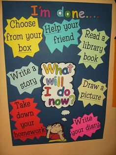 "This ""I'm done..."" board is a great way to remind students of their choices once they have completed the current activity.  By having this posted as a bulletin board or poster within the room, students would have a visual  reminder of the acceptable  options they have while awaiting transition to the next activity.  This procedure would help maintain order as well as keep faster students busy."