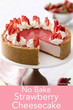 This dreamy no bake strawberry cheesecake from Preppy Kitchen has a light and creamy filling flavored with an easy fresh strawberry reduction all in crispy graham cracker crust. Wilton Candy Melts, Pavlova, Easy No Bake Desserts, Delicious Desserts, Baking Recipes, Cookie Recipes, Beste Brownies, Sauce Creme, Cheesecake Desserts