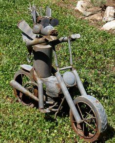 Metal Motorcycle Sculpture Garden Art Rusty Vintage by Decoliner, $49.99