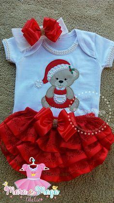 Body Ursa Natal + Calcinha Bunda Rica Kids Christmas Outfits, Baby Girl Christmas, Cute Outfits For Kids, Hello Kitty Clothes, Trendy Baby Clothes, Cute Baby Pictures, Baby Shirts, Baby Sewing, Baby Girl Newborn