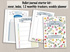 Have you decided to start a bullet journal to keep track of your goals and achievements? Congratulations! This is a very useful tool which has made a significant difference in many peoples lives - including mine. Make it easy to get started with this bullet journal kit!  This kit includes the following templates in A4, A5 and US-letter size:  *2 COVER TEMPLATES* Two cover templates for a pretty bujo! Both colored and black & white versions are included: either use as such with the colored...