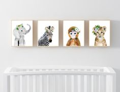 Baby animals : zebra, giraffe, elephant, monkey  Lets make your little ones room warm and enjoyable!  This baby animal art prints collection features a set of 4 prints from my watercolor art collection. This set includes portraits of a zebra, elephant, and lion and monkey.  If, however, youd like to swap any of them for a different piece in my shop, please give me a notice about which baby animals you want to swap it.  Materials: Printed on beautiful high quality, archival and acid free…