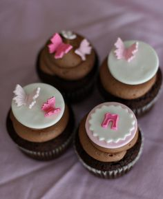Fondant de mariposa bebé ducha Toppers con iniciales para Cupcakes, galletas o tortitas