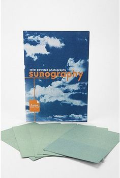 Place any object or transparency on the Sunography paper or fabric, expose it in bright sunlight, and rinse to reveal a rich blue print. Sunography is light sensitive on both sides, to make two-sided prints. Sunography prints can also be toned yellow o