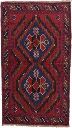 Red Balouch Area Rug $796.00 This Authentic Persian Balouch rug is Hand Knotted of 100% Natural Wool and has 100 knots per square inch. Colors found in this rug include: Red, Navy Blue, Beige, Brown, Light Brown. The primary color is Red. This rug is in excellent condition. It is brand new. The measurements for this rug are: 3 feet 7 inches wide by 6 feet 3 inches long.