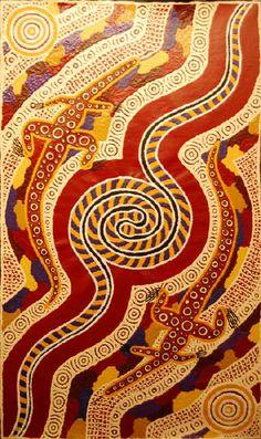 """Pira Warna Warna"", by Malcolm Jagamarra 2007,   88 cm x  152 cm Acrylic on Linen"