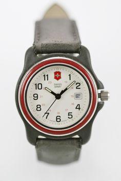 236573c37 Swiss Army Watch Unisex 24hr Date Stainless Steel Black 100m Leather Gray  Quartz