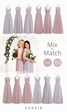 brides maid dresses pastel Dusk and Vintage Mauve are among top trendy colors for fall winter and spring wedding season. Its a gorgeous, muted shade of light purple that has a slight tinge of grey. It is not quite a pastel, making this pale Bridesmaid Dress Colors, Wedding Bridesmaid Dresses, Dream Wedding Dresses, Affordable Bridesmaid Dresses, Mauve Wedding, Wedding Colors, Wedding Ideas, Braids Maid Dresses, Violet