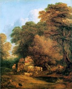 The market cart - Thomas Gainsborough    Phenomenal  use of  color.Ochre  to greens to sky-blue  and  their nuances and gradations.
