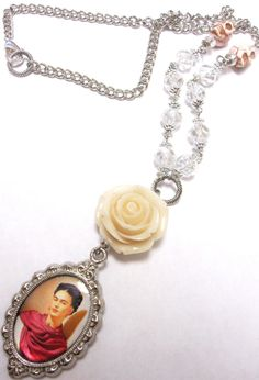 Frida Kahlo Necklace Day of the Dead Jewelry by sweetie2sweetie, $31.99