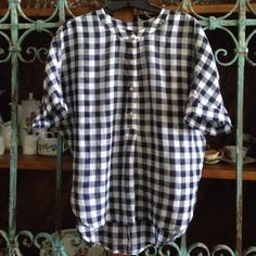 """Gingham Print Shirt by Loft Details:  Navy and White Checkered Tunic with four buttons in center. Material:  100% Sheer Cotton  (hand washed by me) Size XS (Obviously can fit many sizes as per my measurements) Measurements:  Front Length: 23""""; Back Length 27"""",  30"""" (Approx.)  from pit to pit LOFT Tops Tunics"""