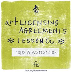 "If you sign art license agreements, have you ever feel uncertain when faced with contractual terms like ""indemnify and hold harmless""? Today, we explain! http://www.february13creative.com/blog/2015/6/23/art-licensing-primer-reps-warranties"