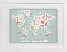 Perfect gift for a new mom or for my godson — Animal World Map by Jessie Steury at minted.com #MintedHoliday