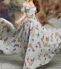 Butterfly printed chiffon long dress maxi long summer dress with sleeves