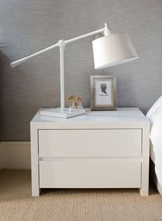 Simple and elegant in a high gloss white finish. It has mitered corner detailing and a polyester finish that is easily kept and clean. Mitered Corners, Bedroom Styles, Interior Design Services, Floating Nightstand, Home Furnishings, Bedroom Furniture, Room Decor, House Styles, Table