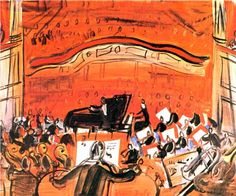 Red Concert Artwork By Raoul Dufy Oil Painting & Art Prints On Canvas For Sale Raoul Dufy, Art Fauvisme, Maurice De Vlaminck, Georges Braque, Oil Painting Reproductions, Naive Art, Art Graphique, Henri Matisse, Musical