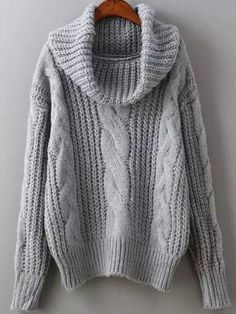 Grey Cowl Neck Winter Sweater Trendy Cable Knit Sweater