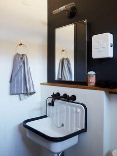 Alape Sin. Bucket sink. White sink. White sink navy trim. Industrial chic style. Utilitarian design. Bathroom sink. Laundry room sink. Mudroom sink.