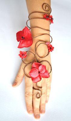 Red flower fairy arm cuff slave bracelet by InMyFairyGarden