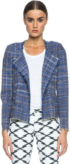 Etoile Isabel Marant Gaylord Summer Cowens Cotton-Blend Jacket in Blue on shopstyle.com