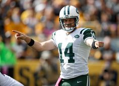 Jets vs. Steelers;  October 9, 2016  -  31-13, Steelers.     Ryan Fitzpatrick #14 of the New York Jets calls out signals prior to a second quarter play against the Pittsburgh Steelers at Heinz Field on October 9, 2016 in Pittsburgh, Pennsylvania.