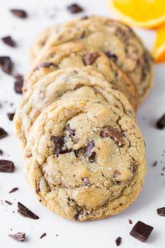 Orange, Chocolate Chunk and Sea Salt Cookies - Cooking Classy Gourmet Cookies, Cookie Desserts, Yummy Cookies, Just Desserts, Yummy Treats, Cookie Recipes, Delicious Desserts, Sweet Treats, Dessert Recipes