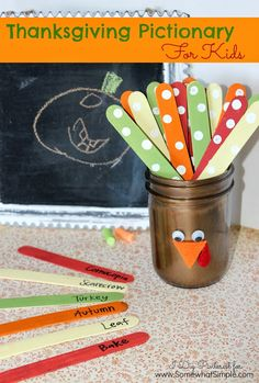 """Thanksgiving Pictionary Game For Kids. Today's craft is a fun and simple Thanksgiving Pictionary game for kids using a painted Mason jar turkey with Popsicle stick """"feathers"""". It's a project the little ones can get involved with too! Thanksgiving Games For Kids, Holiday Games, Thanksgiving Parties, Thanksgiving Crafts, Thanksgiving Decorations, Holiday Fun, Holiday Ideas, Fall Crafts, Diy Crafts"""