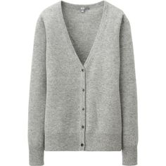Women's 100% cashmere v-neck cardigan ($99.90 / on sale: $89.90) - SKU no. 128837. Pictured in 02 - light gray. Button-up; slim silhouette; hits at hip. Dry clean.