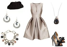 Stunning silver outfit - perfect for a fall wedding or cocktail reception. Paired with vintage inspired jewelry.