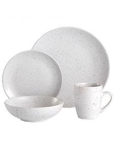 dodatki - kuchnia - misy, patery i talerze-Zestaw Obiadowy 16 Szt. Sable Speckled biały