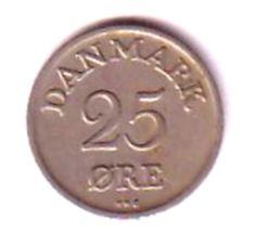 Denmark Twenty Five Ore  Coin 1950 Good condition