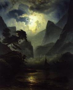 "scribe4haxan: ""A Norwegian Fjord by Moonlight (1855) ~ by Knud Andreassen Baade… """