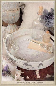 Lovely vintage french dressing table tray. Love the chippy paint.