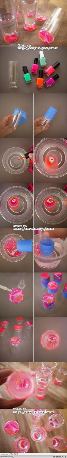Very simple DIY glass decoration using nail polish!